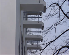 Bauhaus school building, students dormitory + individual balconies Stock Footage