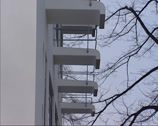 Stock Video Footage of Bauhaus school building, students dormitory + individual balconies