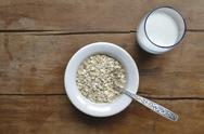 Stock Photo of oat-flakes with milk