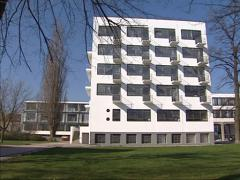 Pan east side Bauhaus school building, students dormitory Stock Footage