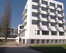 Pan south east side Bauhaus school building, students dormitory Stock Footage