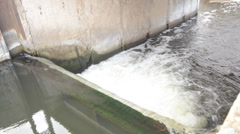 Artificial Waterfall, Water Dam Closeup Stock Footage