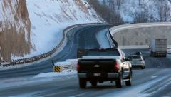 Winter driving high mountain divided highway snow HD 0225 Stock Footage