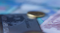 Euro Coins And Banknotes, Shot Motorized Slider 1 Stock Footage