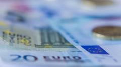 Euro Coins And Banknotes, Shot Motorized Slider 3 Stock Footage
