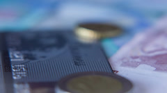 Euro Coins And Banknotes, Shot Motorized Slider 5 Stock Footage
