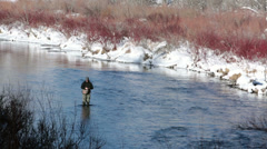 Winter fly fishing mountain river snow and cold HD 0222 Stock Footage
