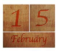 Wooden calendar february 15. Stock Illustration