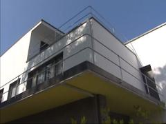 Tilt up semidetached Kandinsky / Klee Masters House, built by Walter Gropius Stock Footage