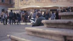 Piazza di Santa Maria in Trastevere in Rome, Italy Stock Footage