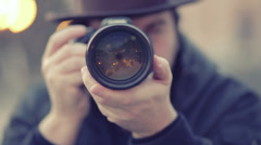 Photographer take a picture in front of the camera - stock footage