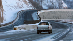 Winter mountain divided highway traffic ice snow HD 0224 Stock Footage
