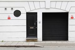 garage and door - stock photo