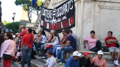 Rome demonstartion - 'Resistenza Abitativa Metropolitana' 5 Stock Footage