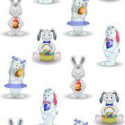 Background, rabbits with easter egg Stock Illustration
