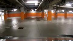 Underground parking garage, camera car Stock Footage