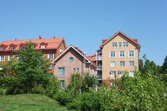 several low-rise houses - stock photo