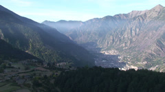 Wide on Andorra la Vella and its valley Stock Footage