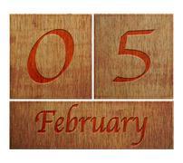 Wooden calendar february 5. Stock Illustration