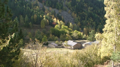 Abandoned town Ramio in Madriu valley - old stone-made houses - stock footage