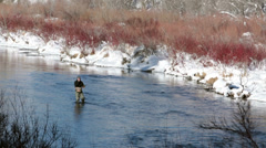 Fisherman in mountain river winter recreation HD 0230 Stock Footage