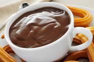Stock Photo of churros con chocolate, a typical spanish sweet snack