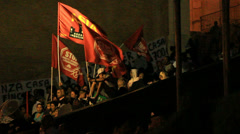 Rome demonstartion - 'Resistenza Abitativa Metropolitana' 24 (slow motion) Stock Footage