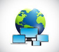 international globe and electronics. - stock illustration