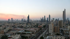 Kuwait City, Kuwait, city skyline, dusk Stock Footage