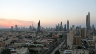 Stock Video Footage of Kuwait City, Kuwait, city skyline, dusk