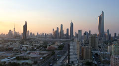 Kuwait City, Kuwait, city skyline, dawn, elevated angle Stock Footage