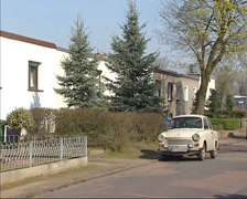 Street view Torten neighbourhood, Dessau, built by Walter Gropius in 1928 Stock Footage