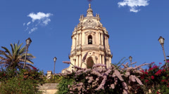 Modica, the cathedral of san giorgio Stock Footage