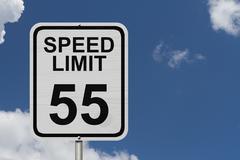 speed limit 55 sign - stock photo