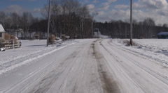 Dead End Road, Winter Driving, Snow, Extreme Weather Stock Footage