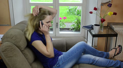 Worried girl talk mobile phone with various face expressions Stock Footage