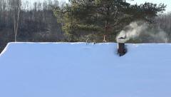 Smoking chimney, winter season - stock footage