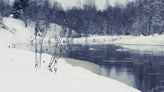 River in winter season, closeup. Stock Footage