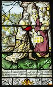 16th century stained glass depiction of jesus being persued by roman soldiers Stock Photos