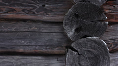 Blockhouse log wall. Winter weather, HD. Stock Footage