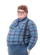 overweight obese young man - stock photo