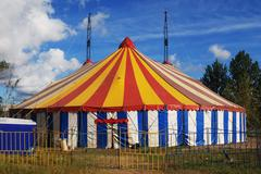 striped circus tent - stock photo