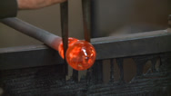 Stock Video Footage of GLASS BLOWING FINE ART PROCESS