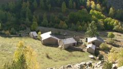 Pan on old village Ramio with stone-made houses and slate roofs Stock Footage