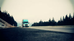 Trucks on road Stock Footage