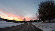 Stock Video Footage of HD Stock 1080p - Moving Vehicle, Snow, Sunset