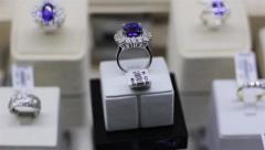 Blue gem ring Stock Footage