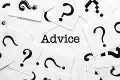 advice and questions marks - stock photo
