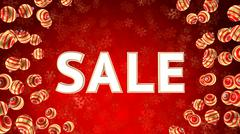 Sale on background with christmas ornaments Stock Photos