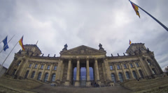 Reichstag building in Berlin, German parliament (Bundestag) Stock Footage